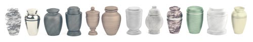 Line-of-various-cremation-urns-on-white-background